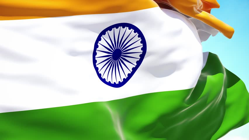 India flag waving on a high quality blue sky, 3d rendering | Shutterstock HD Video #1016742448