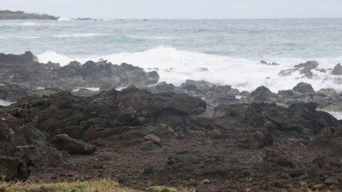 in chile isla de pasqua rapa nui the coastline in the wind nature and wild