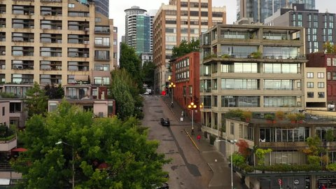 Aerial Virginia Street Seattle Washington