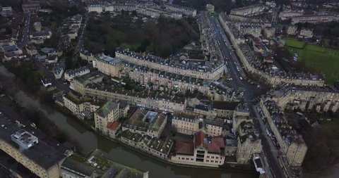 Aerial footage of Henrietta park and Great Pulteney street in Bath