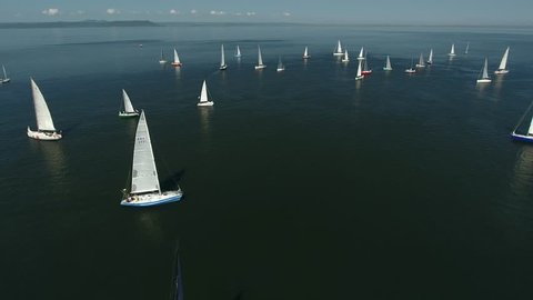 Lot of sailing yachts sail open sea oceans. Sport navigation regatta competition. Freedom extreme tour competition Travel best rest. Associated wind blue water horizon. Aerial Drone Top