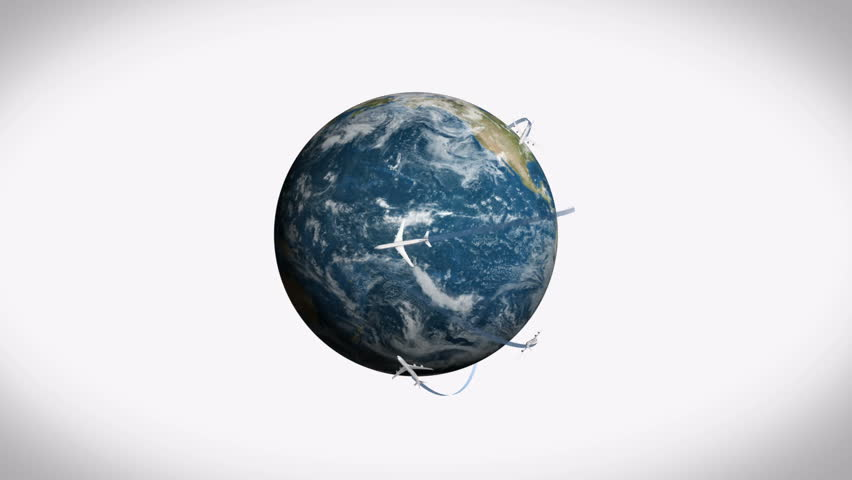 Digitally generated of airplane flying around earth on white background 4k | Shutterstock HD Video #1016797258