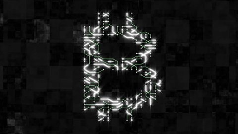 4k a futuristic circuit board with moving electrons shaped bitcoin currency sign,block chain,abstract electronic connections,Cripto currency bitcoin.Global internet finance,worldwide.