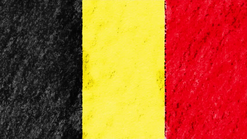 stop motion pastel chalk crayon drawn Belgium flag cartoon animation seamless loop background new quality national patriotic colorful symbol video footage