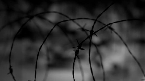 BARBED WIRE, CLOSE UP, IN BLACK AND WHITE 4K HLG SLIDER SHOT
