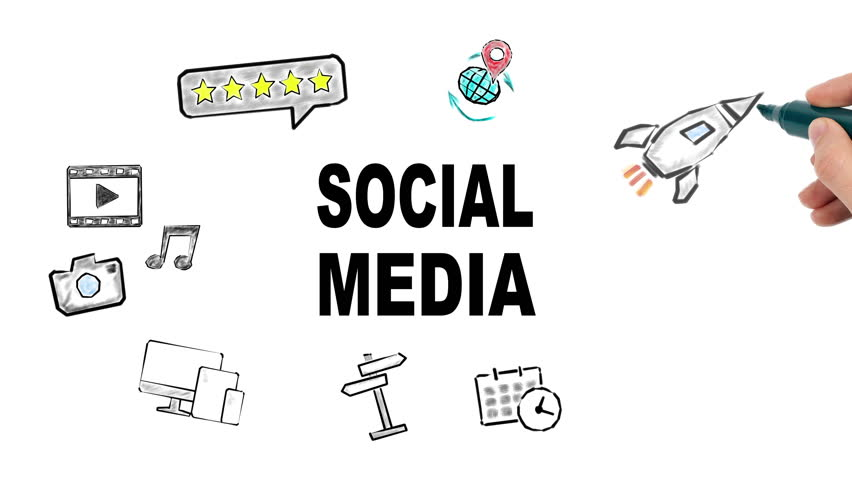 social media and internet concept, illustration in motion, hand drawing related icons