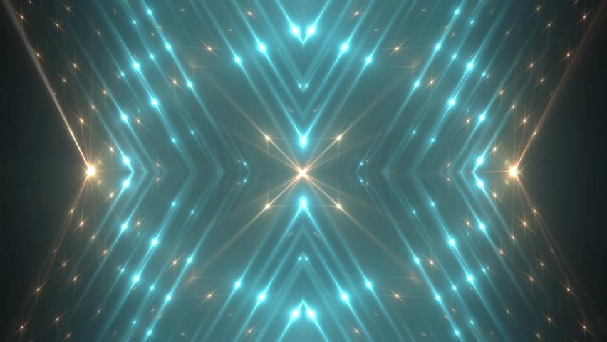 VJ Fractal neon kaleidoscopic background.Background neon motion with fractal design on black background. Disco spectrum lights concert spot bulb. Light Tunnel. Seamless loop.