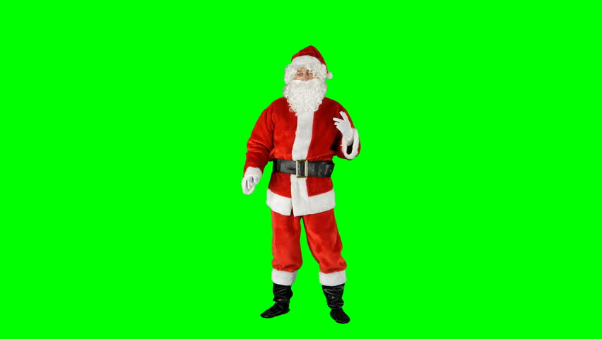 Santa Claus Dancing on Isolated Green Blue Screen Chroma Key Alpha Channel #1016945938