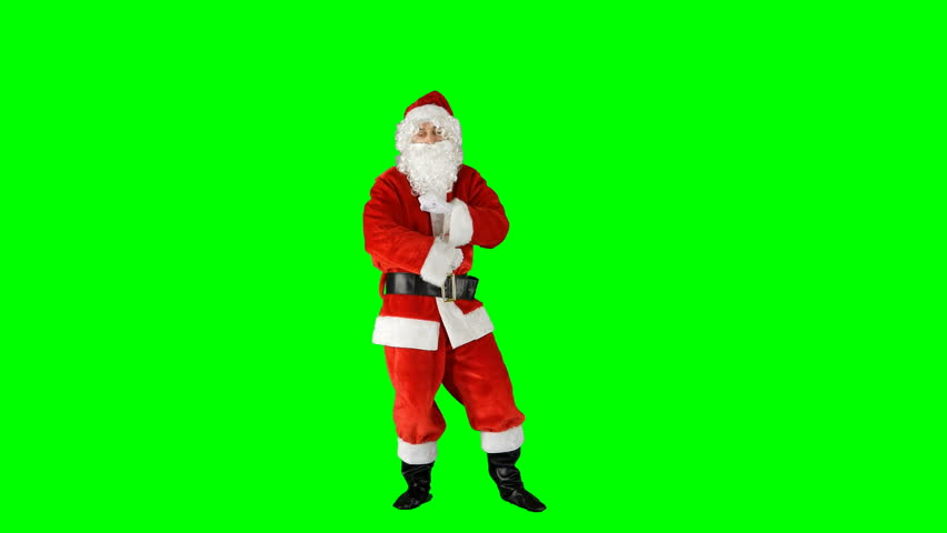 Funny Christmas Santa Claus Dancing and Spinning His Hands on Green Screen #1016945938