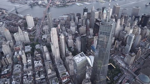 New York City Circa-2015, high angle aerial view of of Lower Manhattan Finanical District at dusk
