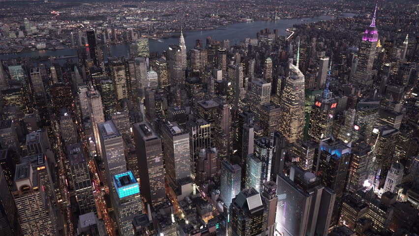 New York City Circa-2015, aerial view of Midtown at night from Times Square to Bryant Park
