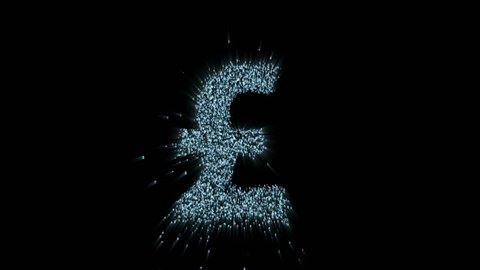 The logo of the English pound in the digital space, the animation consists of a stream of numbers and symbols