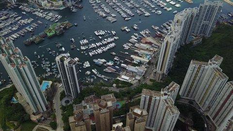 Hong Kong Aberdeen harbour drone videos