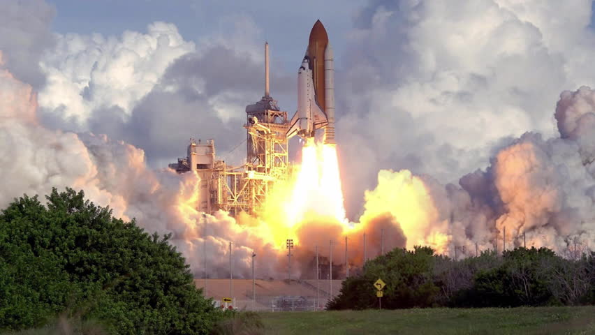 Shuttle rocket launch fire billowing smoke cinemagraph plotagraph | Shutterstock HD Video #1017064228