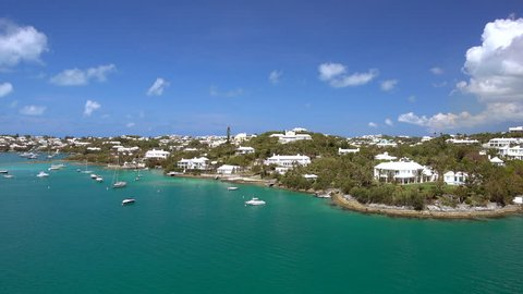 HAMILTON / BERMUDA - MAY 15, 2018: Hamilton, Bermuda enjoying record growth in visitors coming to the island on cruise ships. Views of Hamilton from a drone.