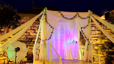 Tel Aviv, Israel - June 29, 2016: Jewish traditions wedding ceremony. Wedding canopy (chuppah or huppah), simbol of new family home after marriage.