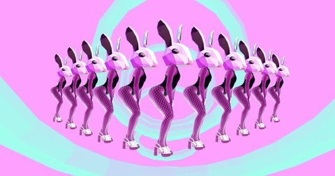 Fashion animation design. Sexy Dancing Bunny. Vanilla Party Pink vibes