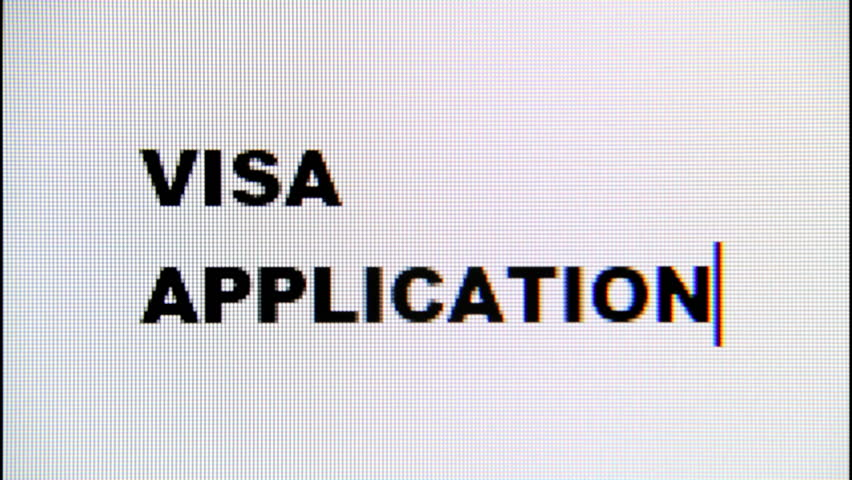 Typing the words Visa Application on a computer monitor. Macro detail shot.  | Shutterstock HD Video #1017159088