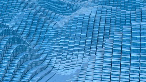 Waving surface with glossy blue cubes close up animation background