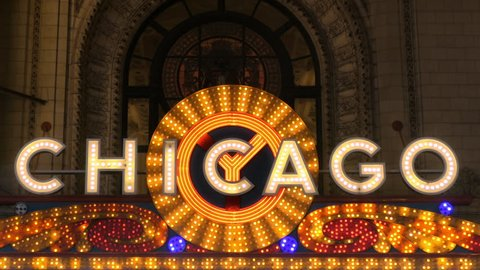 CHICAGO - SEPT 30, 2018: Chicago Theater famous illuminated marquee sign taken on September 30, 2018.