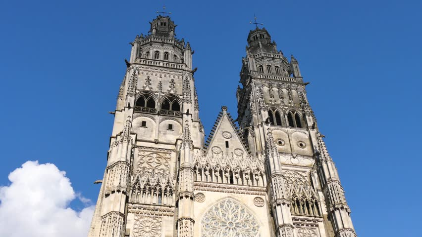 Tours Cathedral is a Roman Catholic church located in Tours, Indre-et-Loire, France. Its name in french is Cathédrale Saint-Gatien de Tours. It is dedicated to Saint Gatianus.