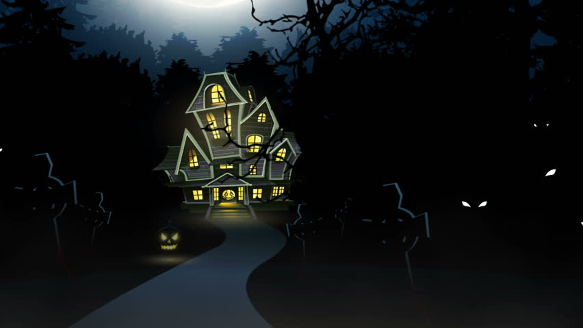 Halloween also known as Allhalloween the time in the liturgical year dedicated to remembering the dead an animation theme entering the gate and walk toward the haunted house