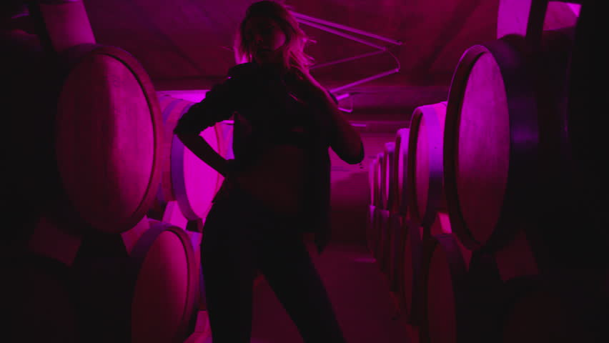 Hot girl dancing, walking . Dances with real strobe lights in colorful light winery with brandy , whiskey or wine barrels . Sexy body posing in wine house .  Clubbing scene in slow motion . | Shutterstock HD Video #1017234178