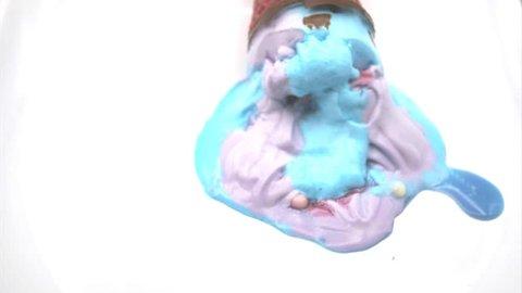 Ice cream melting, time lapse