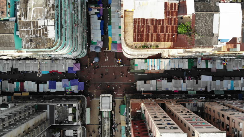 Hong kong old street aerial point of view | Shutterstock HD Video #1017249958