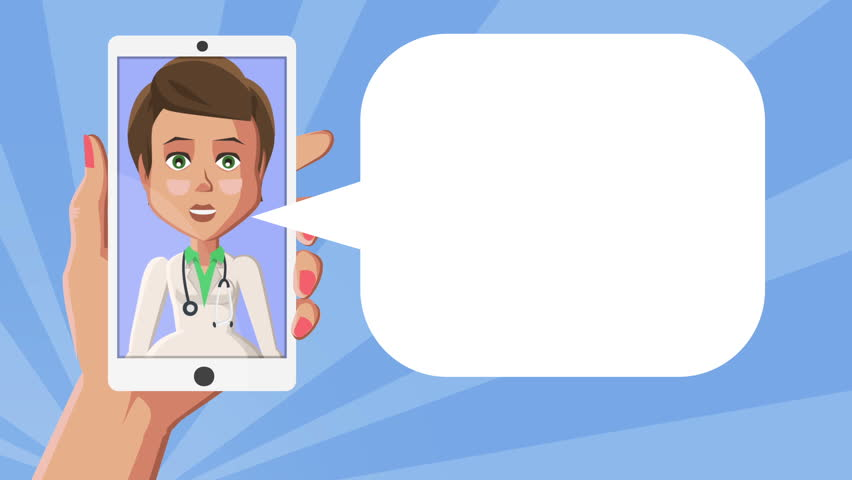 Cartoon Situation Lilly Doctor Girl Character in white smartphone screen. Incoming call on phone in woman hands. Blue background with Speech bubble | Shutterstock HD Video #1017299338