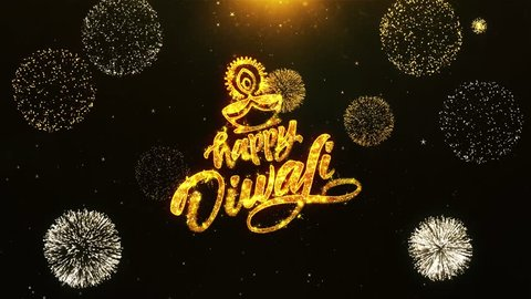 Happy Diwali Dipawali Text Greeting, Wishes with Golden Shining Glitter Star Dust Sparks Blinking Particles Fireworks display on Black Night Background. celebration, greeting card, invitation card. 23