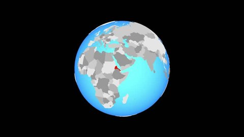 Zoom to Eritrea on blue political globe. 3D illustration.