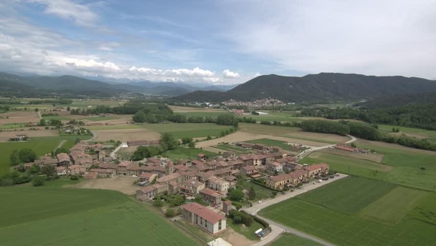 Aerial view from a Drone in Hostalets d´en Bas. Village of Girona, Spain. 4k Video