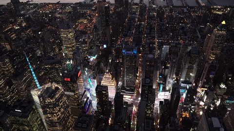 New York City Circa-2015, wide angle aerial view over Midtown Manhattan and Times Square at night