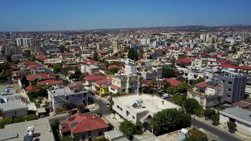 Aerial view of Limassol city in Cyprus shot by drone