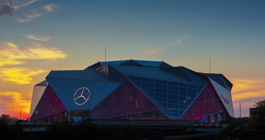 ATLANTA, GA - September 29, 2018: Mercedes-Benz Stadium on September 29, 2018 in Atlanta. Mercedes-Benz Stadium is the home of the Atlanta Falcons NFL team and holds the record for the world's largest