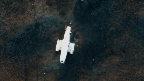 Rotating aerial of a plane crashed and abandoned on the ground in Iceland