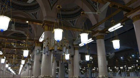 AL MADINAH, KINGDOM OF SAUDI ARABIA-DECEMBER 2016: Interior of Masjid (mosque) Nabawi, Medina, S. Arabia. Nabawi mosque is the 2nd holiest mosque in Islam.