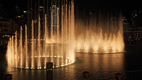 Dancing fountain with lighting in the city at night.