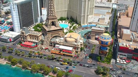 Las Vegas, Nevada, United States - 05 05 2018: AERIAL VIEW OF LAS VEGAS HOTELS, CASINOS, TOWER AND FOUNTAIN, NEVADA, UNITED STATES. DRONE VIDEO.
