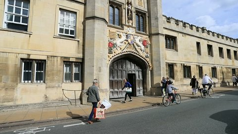 CAMBRIDGE, ENGLAND - 8 SEP 2018: Cambridge England Christs College entrance gate road. University of Cambridge, founded 1209 one of the top five universities in the world. City occupied 3,500 years.