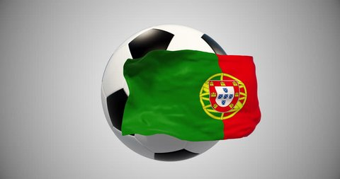 Portugal flag,Portugal Football. 3d animation soccer ball,flag. Alpha matte ,alpha channel.Sport news.football match.translation for tv. world cup.Object of advertising.  4k soccer match