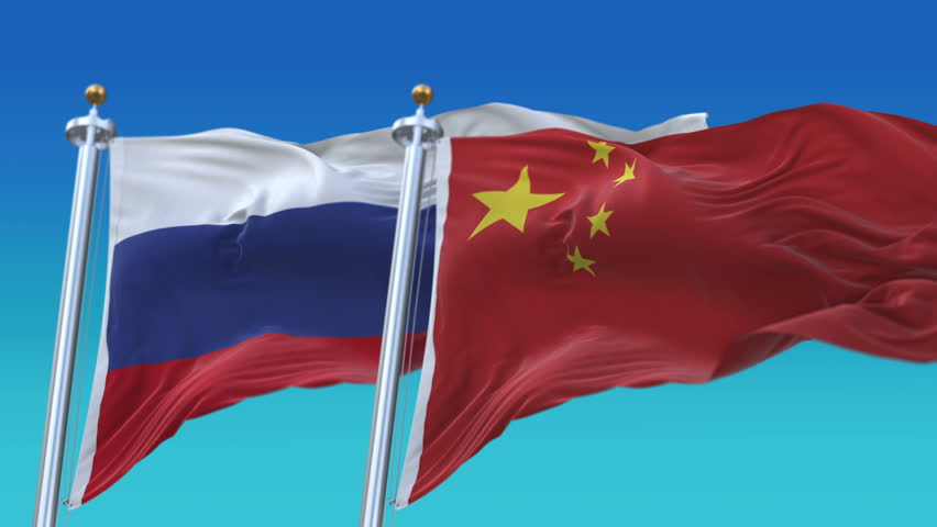 4k Seamless Russia and China Flags with blue sky background,A fully digital rendering,The animation loops at 20 seconds,RUS CN. cg_06544_4k