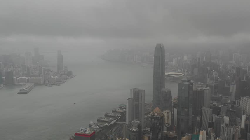 Hong Kong aerial view on the island, Victoria bay foggy mist scene in day 4k