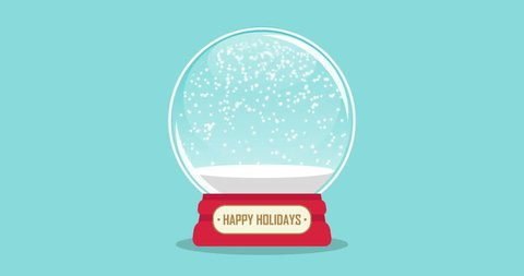 snowglobe animation with falling snow on a blue background loop