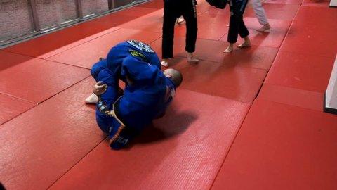 Brakel, Belgium - 02 06 2018: Sparring Brazilian Jiu-Jitsu in the club