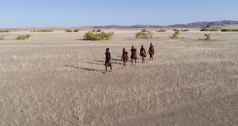 4K aerial panning view of five people from the Himba tribe walking in the Namib Desert,Namibia