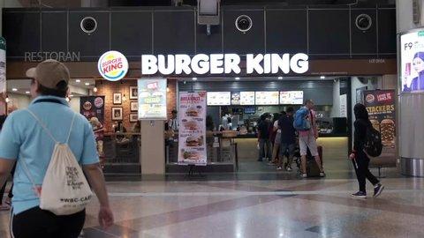 Kuala Lumpur, Malaysia - 13th October 2018 : Burger King KL Sentral branch, is an American global chain of hamburger fast food restaurants