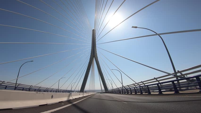POV view of the Constitution of 1812 Bridge, also known as La Pepa Bridge in a sunny day. Cadiz, Spain. #1018031638