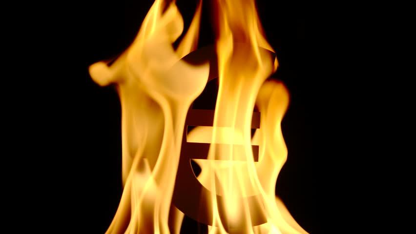 SLOW: Burning Euro symbol | Shutterstock HD Video #1018040668